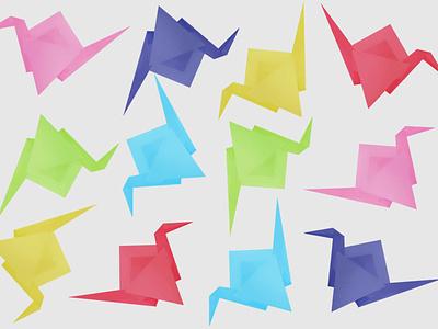 origami paper cranes animal artmash artist ipad pro art procreate art procreate pattern art patterns pattern origami paper crane digital art illustration