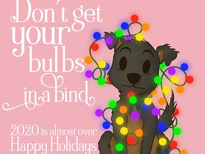 Bulbs in a Bind art animal ipad pro ipad pro art artist digital art illustration holiday holidays lights christmas card christmas puppy procreate