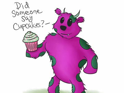 Murray the Monster character design monsters sweet tooth cupcakes cupcake monster cartoon artmash procreate artist hand drawn ipad pro art digital art illustration