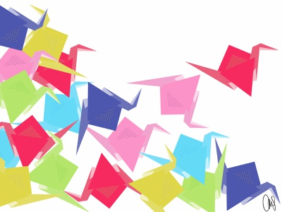 origami paper cranes paper art paper craft balance origami paper crane cranes artmash animal procreate illustration artist hand drawn ipad pro art digital art