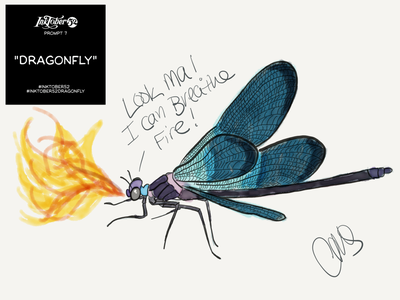 Dragonfly hand drawn cartoon art artist inktober ipad pro digital art illustration dragon fire bugs insects insect dragonfly