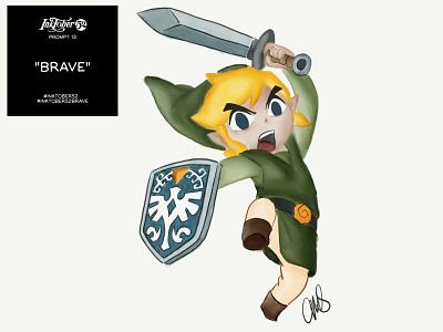 Link is Brave cartoon zelda icons nintendo link zelda ipad pro art hand drawn art artist illustration inktober ipad pro digital art