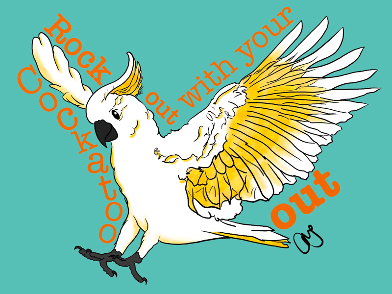 the cockatoo animal bird cockatoo artmash procreate 5 hand drawn art graphic design ipad art ipad pro typography illustration procreate