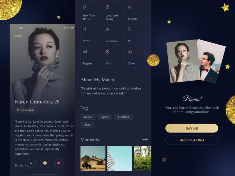 High end dating app profile match dating design sketch ui