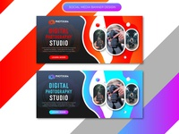 abstract digital photography studio social media banner design