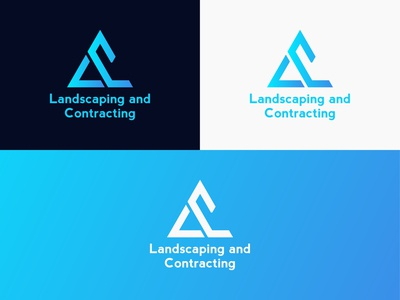 landscaping and contracting L C letter logo design