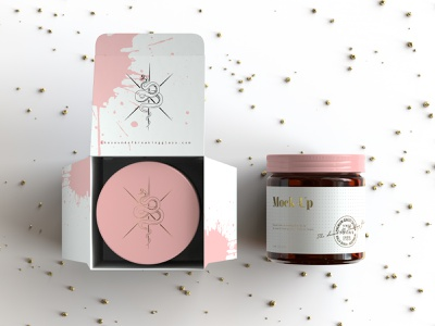 Amber Glass Jar And Box Packaging Mock Up - Vol.2 print design cbd honey face cream glass identity nutrients wellbeing medical cannabis presentation packaging branding