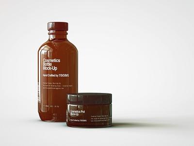 FREE | Cosmetic Bottle & Cosmetics Pot Mock Up