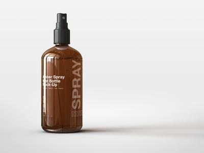 Amber Spray Mist Bottle Mock Up