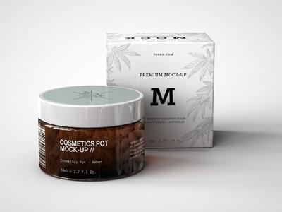 Amber Cosmetics Pot And Box Mock Up