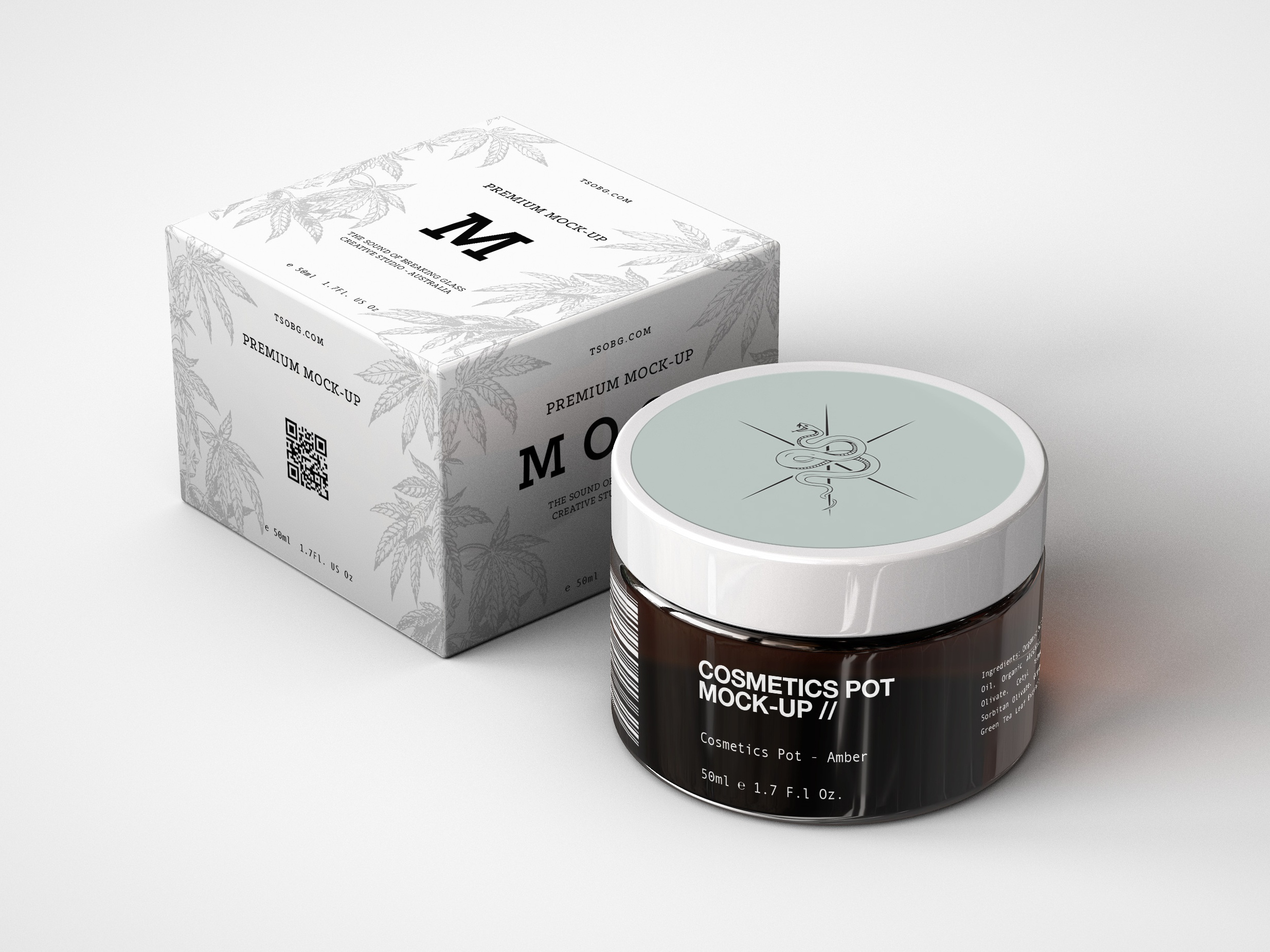 Amber cosmetics pot and box mock up dribbble 2