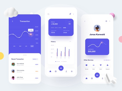 Finance App - Exploration dashboard profile expense income cart transaction finance app money management 3dillustration 3d