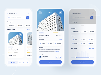 Real Estate App - Exploration 🏠 blue potrait building uidesign ux ui rent motion mobile white whitespace smooth clean commercial hotel apartment house realestate