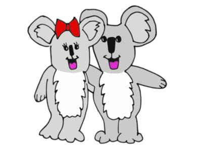 Koala Lovers White Bk