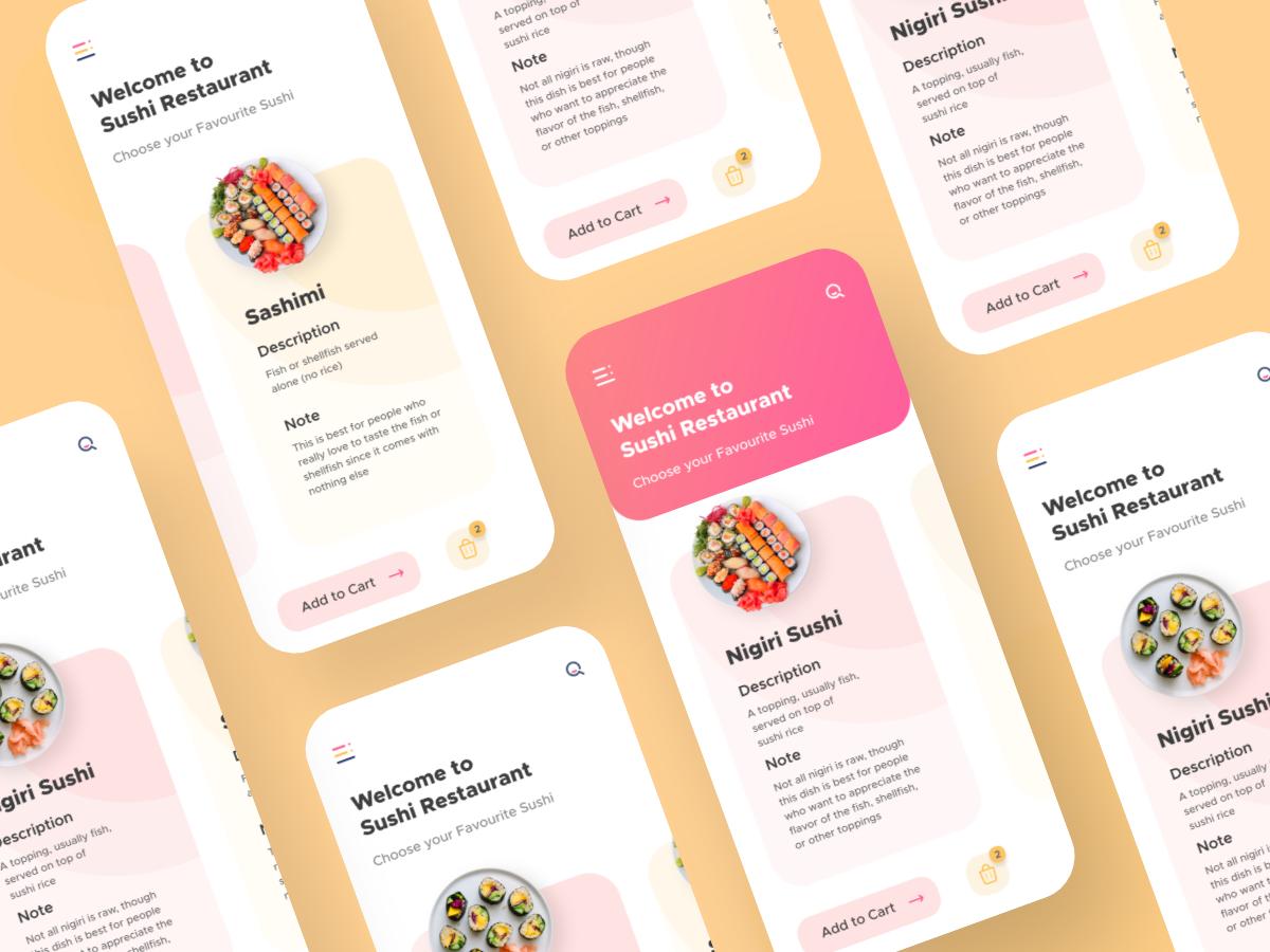 Sushi Restaurant App UI restaurant sushi ingeniouspixel interaction adobe xd interaction design ux ui