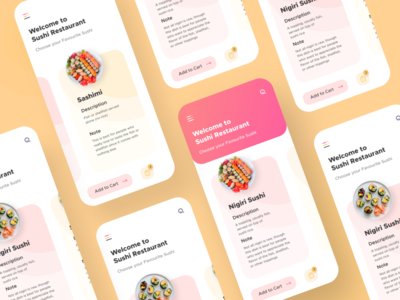 Sushi Restaurant App UI restaurant sushi ingeniouspixel interaction adobe xd interaction design ux ui