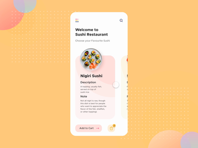 Sushi Restaurant App User Interaction