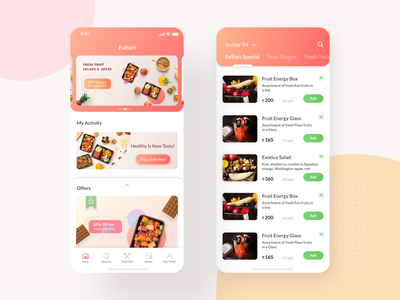 Fruit Box subscription UI Screens fruit food app healthcare falhari branding ingeniouspixel interaction adobe xd interaction design ux ui