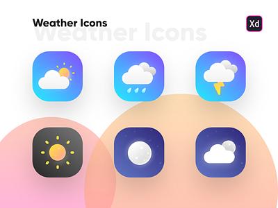 Weather Icon Freebies weather icons weather widget weather forecast weather ux ui interaction design ingeniouspixel adobe xd weather app weather icon