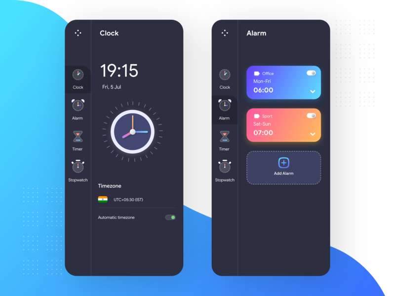 Clock App UI screens clocks timer app stopwatch timer alarm app alarm clock clock app ingeniouspixel adobe xd interaction design ux ui
