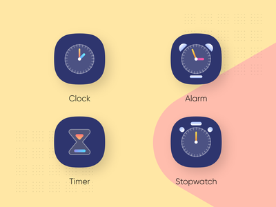 Clock app icons alarm clock alarm app stopwatch timer alarm clocks clock adobe xd ingeniouspixel interaction design ux ui clock icon clock app