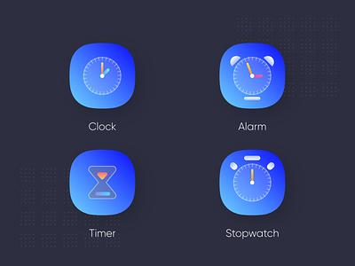 Clock app icons 2nd icon alarm icon alarm app alarm clock stopwatch clock app clock timers iconography clock icon icons pack ingeniouspixel icons design iconset icons