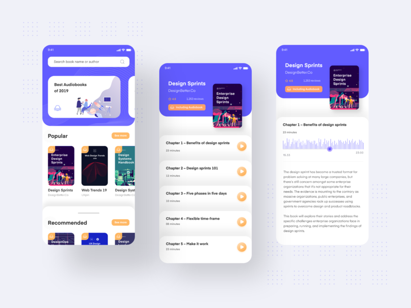 Audio Book App UI screen ebook minimalism interaction design flat design design book design app audiobook audio app app design adobe xd interaction ingeniouspixel app minimal flat ux ui