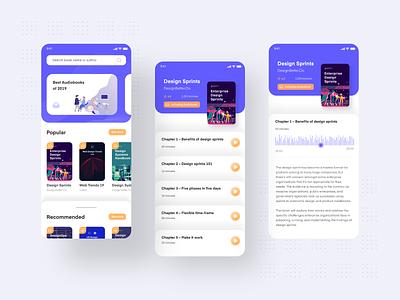 Audio Book App UI screen ebook minimalism interaction design flat design design book design app audiobook audio app app design adobe xd interaction ingeniouspixel app minimal flat ux ui