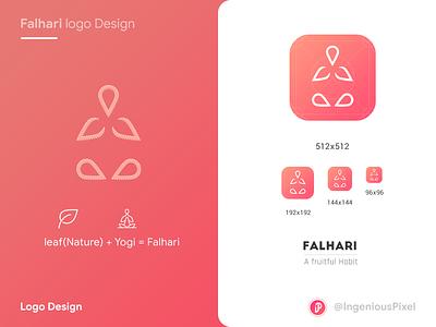 Falhari logo design logo concept illustrator nature yoga app ios android fruit food app healthcare branding falhari ingeniouspixel logo design app icon app logo icon logo ux ui