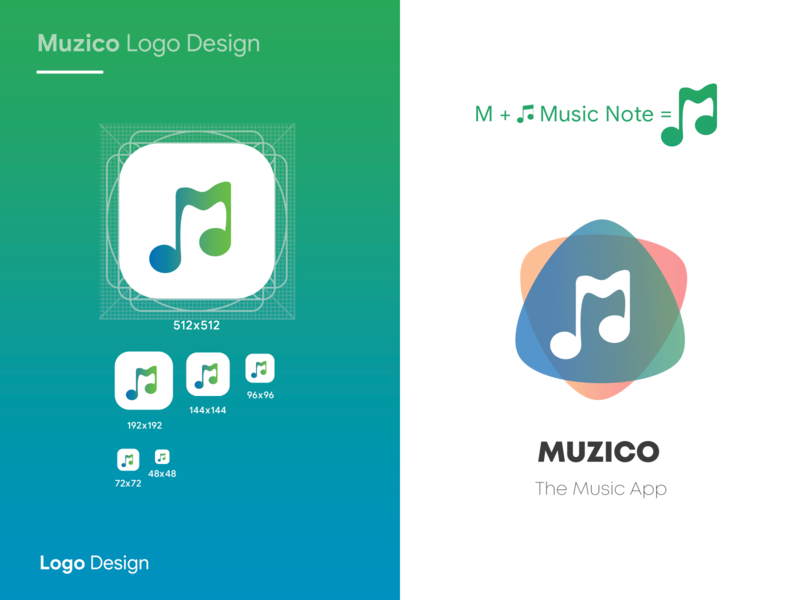 Muzico logo Design icon set branding logotype note music app music interaction design ingeniouspixel icon app icon logo
