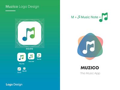 Muzico logo Design icon set branding logotype note music app music interaction design ingeniouspixel icon app icon logo