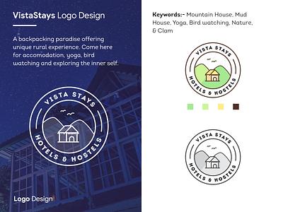 Vistastays logo design typography illustration branding icon yoga home house maditation bird mudhouse nature hotel stay design logo ingeniouspixel