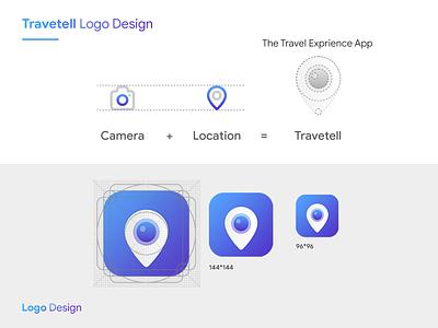 Travetell logo design location app location travel icon typography app logo logo illustration branding app interaction ingeniouspixel
