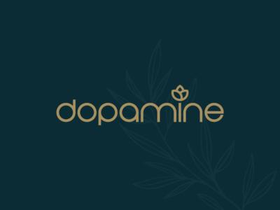 Dopamine Typography Logo happiness happy leaf minimal logotype logodesign typography beauty feminine flower boutique spa identity logo