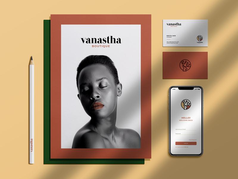 Vanastha - Brand Presentation animal logo leaf plant nature typeface identity logomark deer beauty cosmetics logo branding