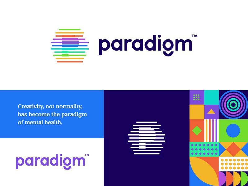 Paradigm Logo lines p logo monogram geometric patterns identity typography logotype logomark logo design colorful pattern branding logo