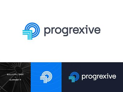 Progrexive Logo logodesign identity progress minimal monogram p logo aim target bullseye dart mark logomark typeface technology branding logo
