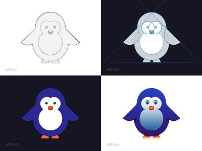 Penguin Logo Process mascot logo mascot logo learn illustration bird cute logo construction penguin logo logo process penguin logo design logo