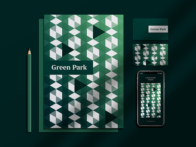 Green Park Pattern nature identity logo architecture real estate branding pattern design park pattern art patterns triangle greenery green pattern