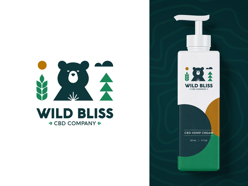 Wild Bliss Logo branding design logomark mark identity logodesign logotype animal logo animal tree leaaf nature green bear packaging package marijuana hemp cbd branding logo