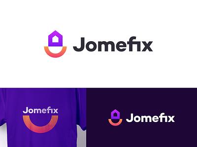 Jomefix Logo identity design design smiley logodesign logotype mark symbol logomark typography minimal smile happiness happy house home branding identity logo