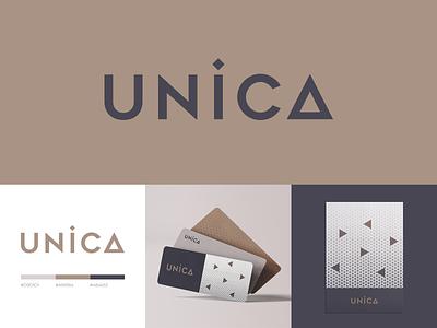 Unica Logo unique geometric design architecture triangle geomteric geometry pattern design pattern symbol mark logomark design logotype minimal typography identity branding logo
