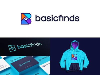 Basicfinds Logo Proposal 01 basic see colorful b logo find eye symbol logotype minimal monogram logomark typography mark branding identity logo
