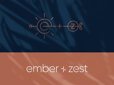 Ember + Zest Logo food nutrition ember fruit cosmetics health lifestyle zest sun minimal nature logotype logomark typography mark branding identity logo