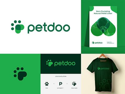 Petdoo Logo pet care poop typography p logo organic nature green logotype minimal logomark mark identity pets paw animal logo animal pet branding logo