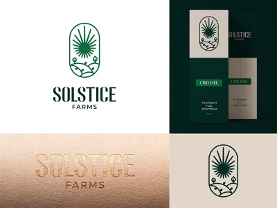 Solstice Farms Logo packaging organic solstice label herb cbdoil hemp farm sun cbd cannabis nature logotype minimal logomark typography branding identity logo