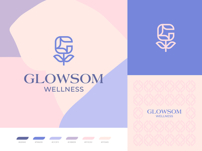 Glowsom Logo logodesign pattern organic leaf g logo plant colorful pastel health beauty spa logotype wellness logo design blossom glow flower identity branding logo