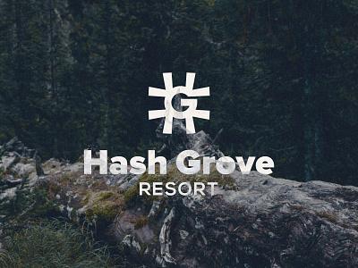 Hash Grove Resort Logo wanderlust tourism stay tree forest g logo grove hash symbol nature logo design resort brand identity branding logo