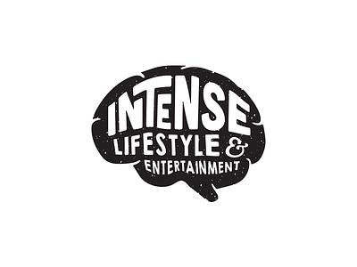Intense Logo entertainment identity grunge black  white intense typography branding brain logo
