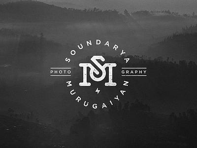 Soundarya Murugaiyan Logo typography stamp logo flash symbol sm vintage camera photography logo branding